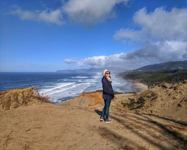 Coastline view from top of Cape Kiwanda Sand Dune, Oregon - Oregon Coast Road Trip