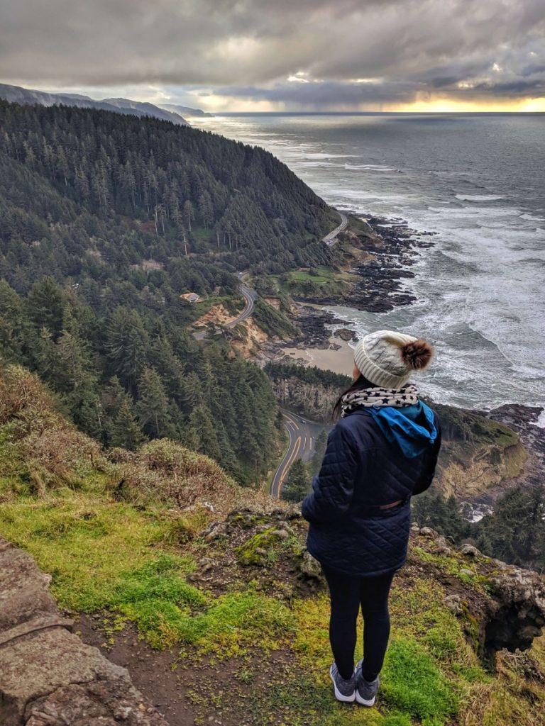 Viewpoint from Cape Perpetua along Oregon Coast road trip